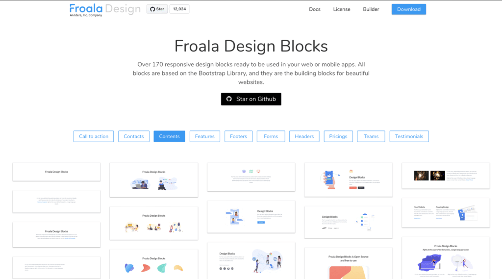 Froala Design Blocksホーム画面
